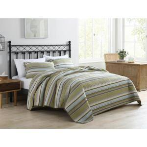 Fresno 3-Piece Green Striped Cotton Full/Queen Quilt Set