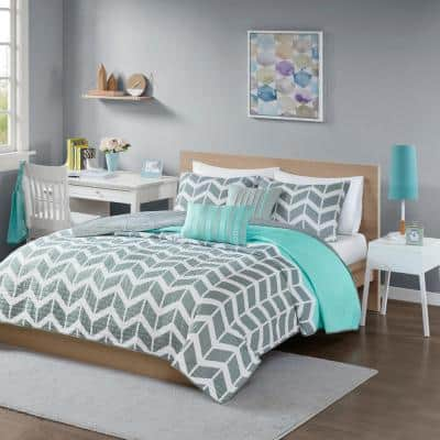 Laila 5-Piece Teal Full/Queen Coverlet Set