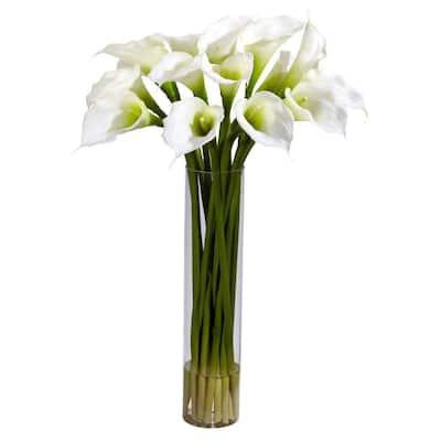 27 in. H Cream Calla Lilly with Cylinder Silk Flower Arrangement