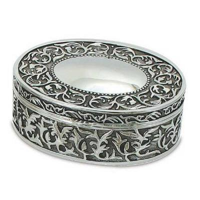 0.85 fl. oz., 5 in. x 4.25 in. x 1.25 in. Nickel Plated Oval Silver Jewelry Box