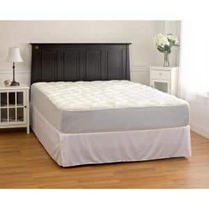 White Twin Plush Rayon from Bamboo Mattress Pad with Fitted Skirt