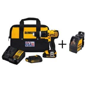 20-Volt MAX Cordless Compact 1/2 in. Hammer Drill/Driver, (2) 20-Volt 1.3Ah Batteries, Charger, Bag & Cross Line Laser