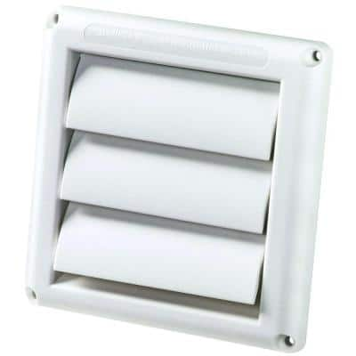 6 in. White Louvered Plastic Vent Hood