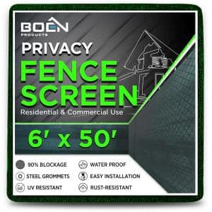 6 ft. X 50 ft. Green Privacy Fence Screen Netting Mesh with Reinforced Grommet for Chain link Garden Fence