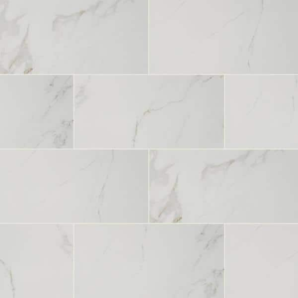 Msi Take Home Tile Sample Carrara 12 In X 24 In Glazed Polished Porcelain Floor And Wall Tile 4 In X 4 In Ncar1224p Sam The Home Depot