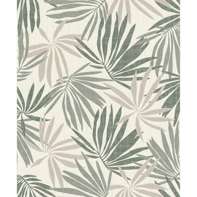 Khmunu Grey Palm Leaf Wallpaper