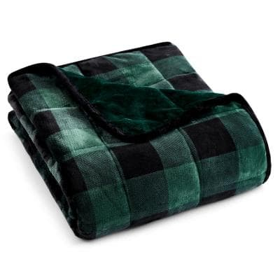 Green Plaid Shiny Velvet to Shiny Velvet 50 in. x 60 in. x 10 lbs. Weighted Throw Blanket