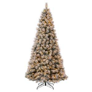 9 ft. Pre-Lit Snow Flocked Artificial Spruce Christmas Tree with 900 Warm White Lights
