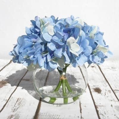 7 in. Artificial Hydrangea Flower Arrangement in Round Glass Vase