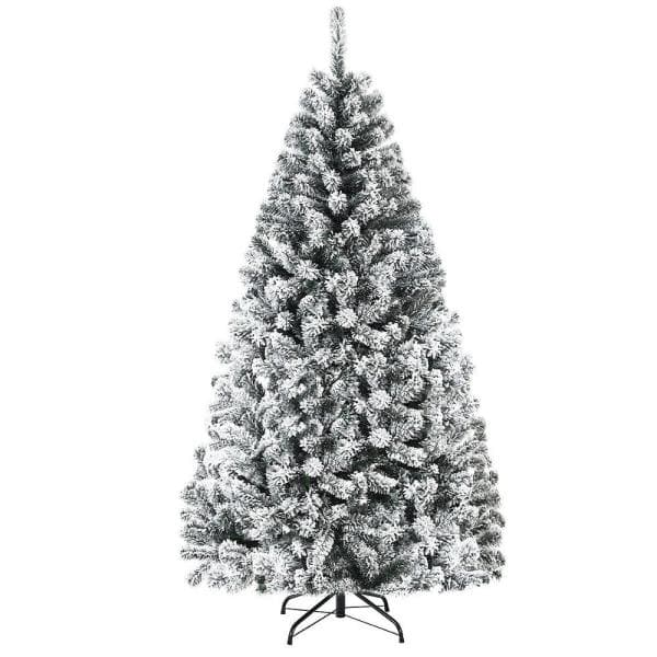 Costway 6 Ft Unlit Premium Snow Flocked Hinged Artificial Christmas Tree With Metal Stand Cm22067 The Home Depot