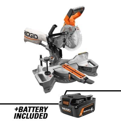 18-Volt Brushless 7-1/4 in. Dual Bevel Sliding Miter Saw with 18-Volt 4.0 Ah MAX Output Lithium-Ion Battery