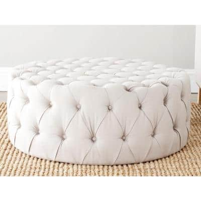 Charlene Taupe Tufted Ottoman