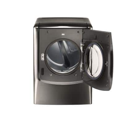 9.0 cu. ft. Mega Capacity Black Stainless Steel Smart Gas Vented Dryer with TurboSteam & Pedestal Compatible