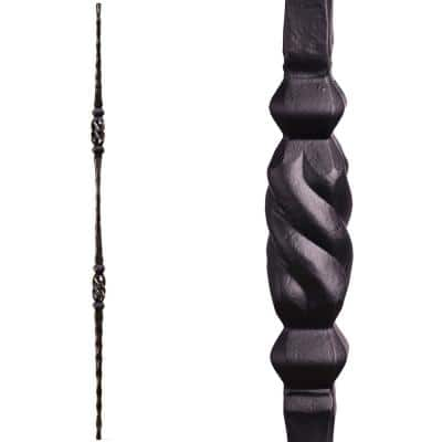 Tuscan Square Hammered 44 in. x 0.5625 in. Satin Black Double Twisted Knuckle Solid Wrought Iron Baluster