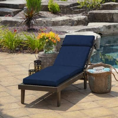 21 in. x 72 in. Outdoor Chaise Lounge Cushion in Sapphire Leala Texture