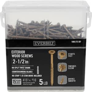 #10 x 2-1/2 in. Star Drive Flat Head Exterior Wood Screws (415-Pack)