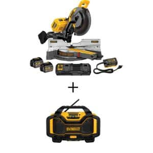 FLEXVOLT 120-Volt MAX Cordless Brushless 12 in. Miter Saw with AC Adapter, (2) FLEXVOLT 6.0Ah Batteries & Radio