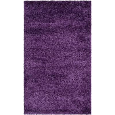 Milan Shag Purple 8 ft. x 10 ft. Solid Area Rug