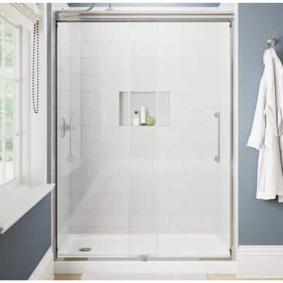 Ashmore 60 in. W x 74-3/8 in. H Sliding Frameless Shower Door in Chrome with 5/16 in. (8 mm) Clear Glass