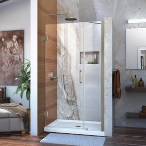 Unidoor 38 to 39 in. x 72 in. Frameless Hinged Shower Door in Brushed Nickel