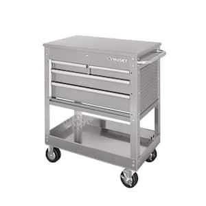 33 in. 4-Drawer Stainless Steel Mechanics Cart