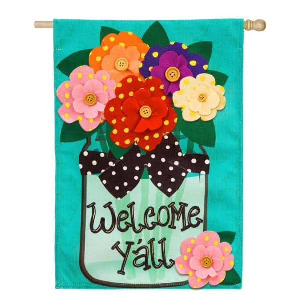 Evergreen 28 In X 44 In Welcome Y All Polka Dot Flowers Burlap House Flag 13b4181 The Home Depot