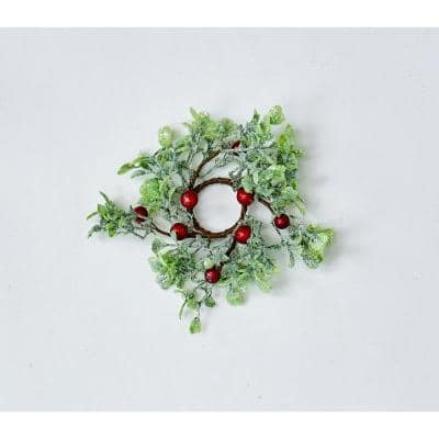 """1.25"""" GREEN LEAVES AND RED BERRIES CANDLE RING (Set of 6)"""