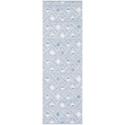 Montauk Blue/Ivory 2 ft. x 7 ft. Speckled Diamond Geometric Runner Rug