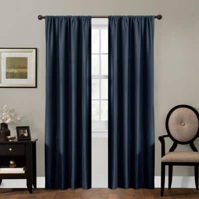 Navy Jacquard Thermal Blackout Curtain - 50 in. W x 84 in. L