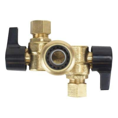 1/2 in. Brass Push-To-Connect x 3/8 in. Compression Dual Opposed Outlet Dual Shut-Off Quarter-Turn Stop Valve