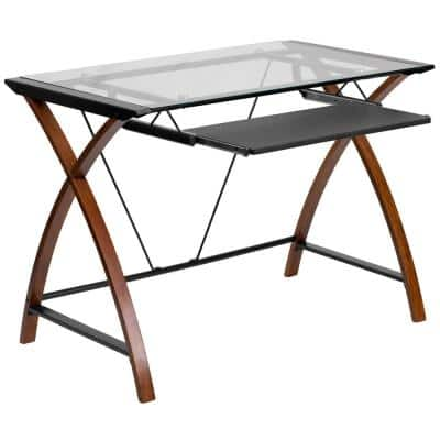 40 in. Rectangular Clear/Cherry Computer Desk with Keyboard Tray