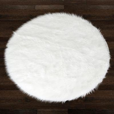 Alair White 4 ft. Wide Round Faux Fur Area Rug