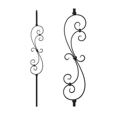 Satin Black 34.1.25-T Mega Large Spiral Scroll Hollow Iron Baluster for Staircase Remodel