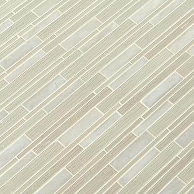 Snowcap Blend Interlocking 12.2 in. x 11.81 in. x 4mm Textured Multi-Surface Mesh-Mounted Mosaic Tile (1 sq. ft.)
