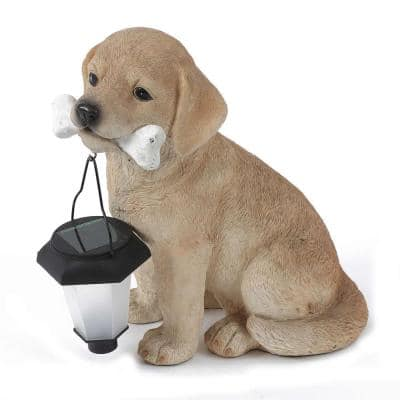 Polyresin Puppy with Solar Light Garden Statue