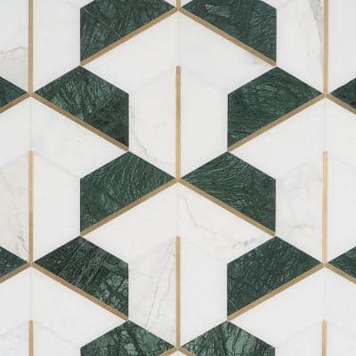 Timbira Verde 11.81 in. x 10.23 in. Polished Marble and Brass Wall Mosaic Tile (0.83 sq. ft./Each)