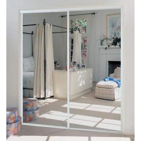 Truporte 72 In X 80 230 Series, White Mirror Sliding Closet Door