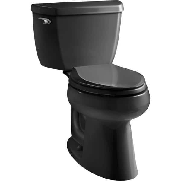 Kohler Highline 2 Piece 1 28 Gpf Single Flush Elongated Toilet In Black Black Seat Not Included K 3658 7 The Home Depot