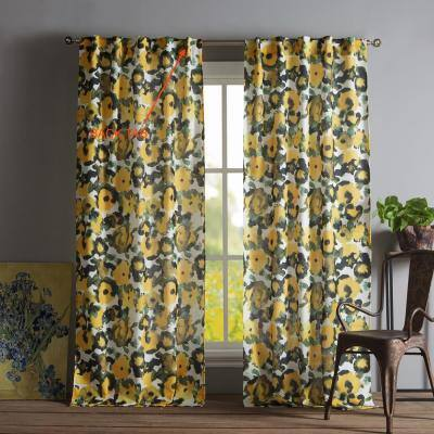 Multi Floral Rod Pocket Room Darkening Curtain - 38 in. W x 84 in. L (Set of 3)