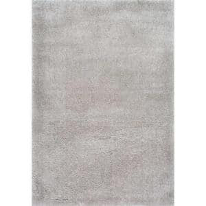 Gynel Solid Shag Silver 5 ft. x 8 ft. Area Rug