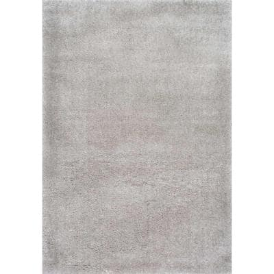 Gynel Solid Shag Silver 8 ft. x 10 ft. Area Rug