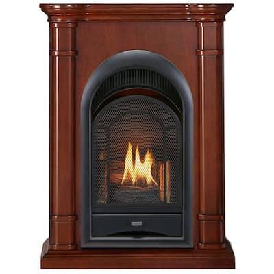 ProCom FS100T-3W Ventless Fireplace System 10K BTU Duel Fuel Thermostat Insert and Walnut Mantel