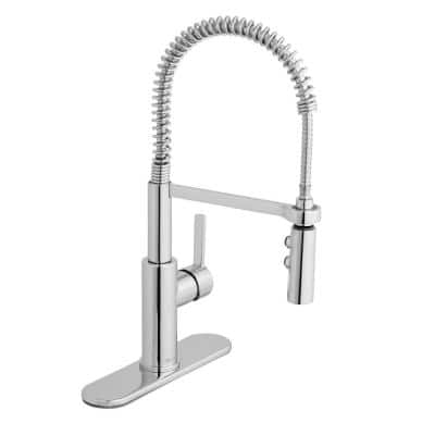 Statham Single-Handle Coil Spring Neck Kitchen Faucet with TurboSpray and FastMount in Chrome