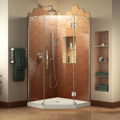 Prism Plus 36 in. x 36 in. x 74.75 in. Semi-Frameless Neo-Angle Hinged Shower Enclosure in Chrome with Shower Base