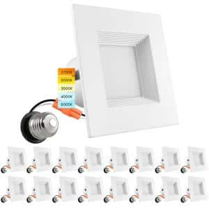 4 in. Square Recessed LED Can Lights Color Options 2700K/3000K/3500K/4000K/5000K Dimmable Wet Rated Baffle (16-Pack)