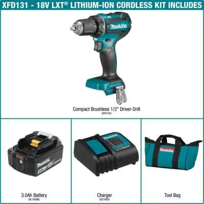 18-Volt LXT Lithium-Ion Brushless Cordless 1/2 in. Driver-Drill Kit, 3.0Ah