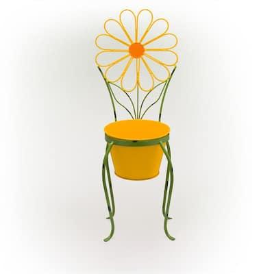 Yellow Flower Iron Planter Stand