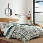 Timbers 2-Piece Green Plaid Cotton Twin Duvet Cover Set