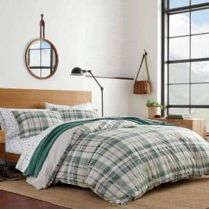 Timbers 3-Piece Green Plaid Cotton King Duvet Cover Set
