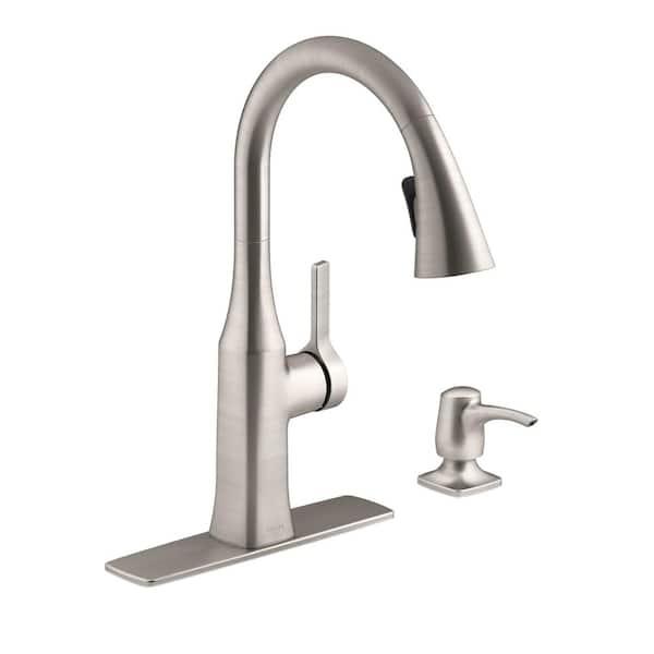 Kohler Rubicon Single Handle Pull Down Sprayer Kitchen Faucet In Vibrant Stainless R20147 Sd Vs The Home Depot